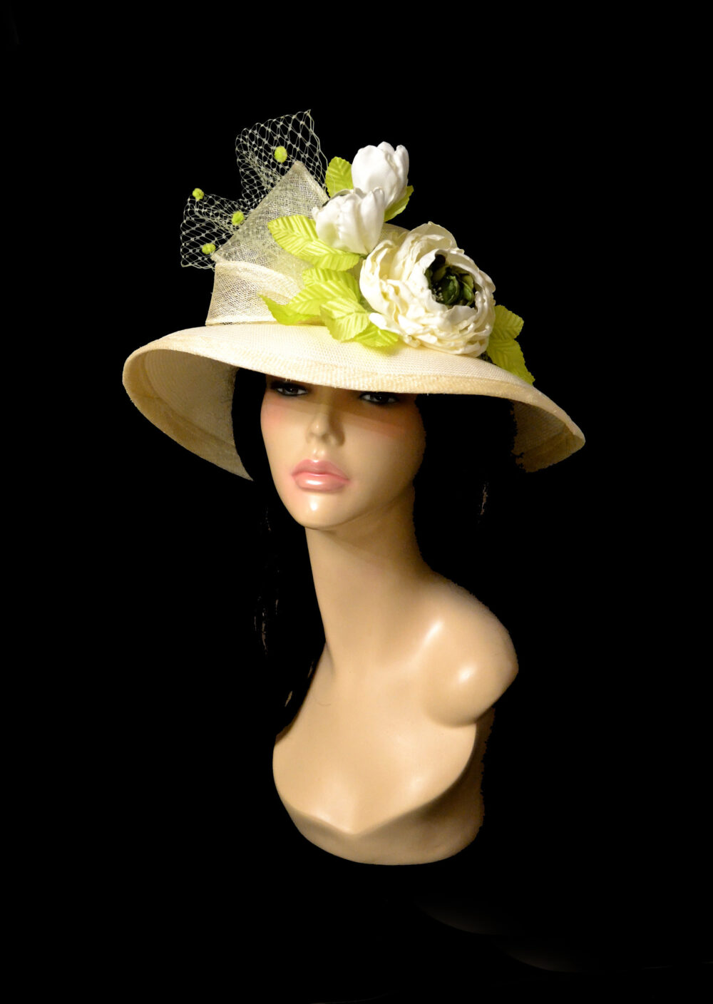 straw White Cream Beige Royal Ascot Derby Kentucky Hat Church Wedding Women Summer Formal Fascinator With Flowers Roses Flower Floral