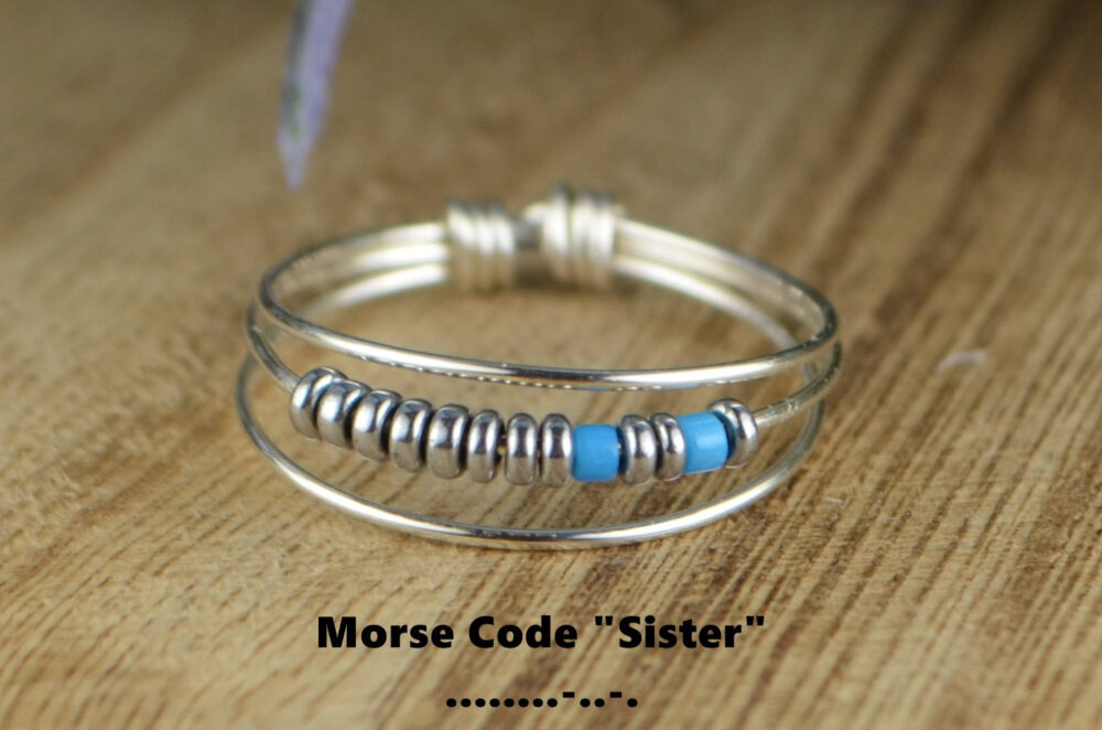 Morse Code Sister Ring-Your Choice Of Color Beads & Silver, 14K Rose Or Yellow Gold Filled Wire-Size 4 5 6 7 8 9 10 11 12 13 14