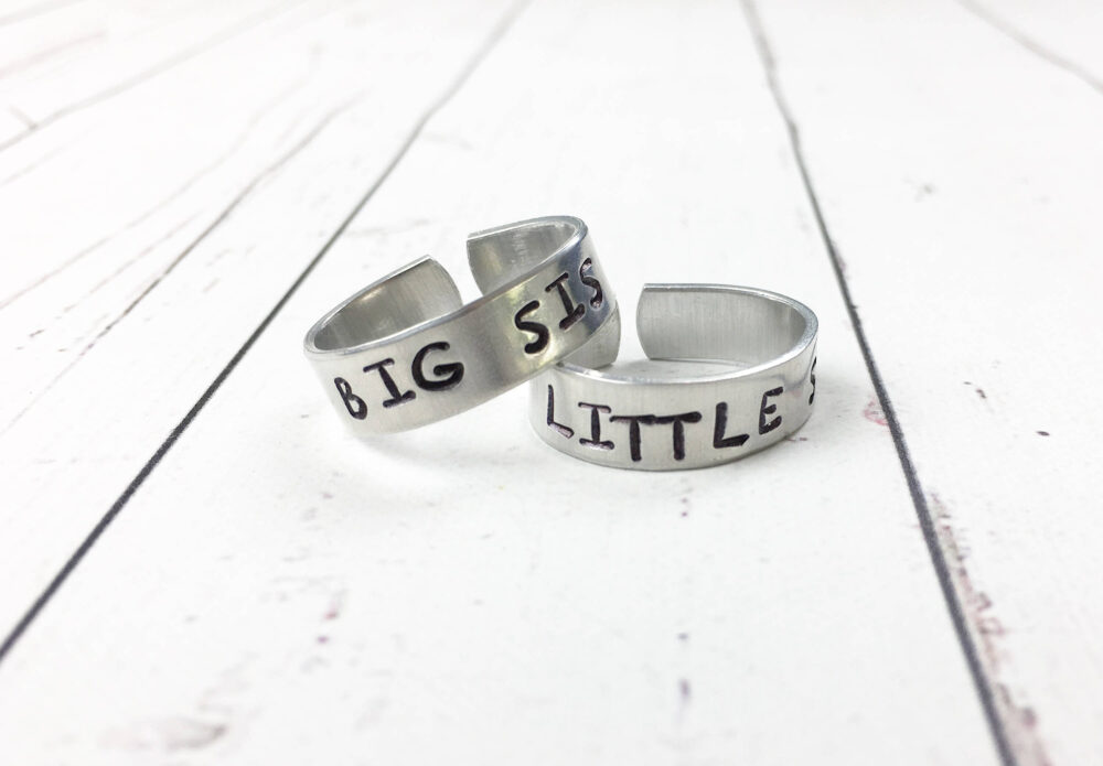 Big Sis Little Adjustable Rings - Sister Ring Set Sorority Stamped