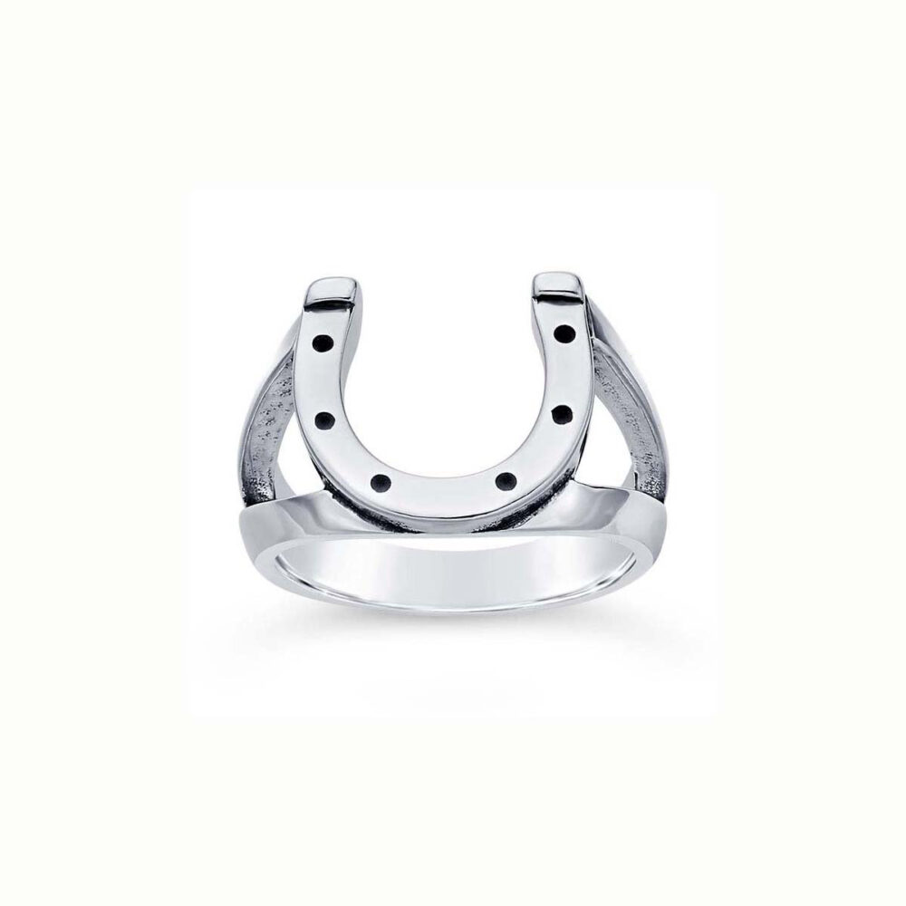 Engravable Horseshoe Ring 925 Sterling Silver Lucky Equestrian Jewelry Protection Amulet Pinky Man