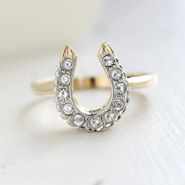 Vintage 1970S Lucky Horseshoe Ring Clear Swarovski Crystals 18K Yellow Gold Electroplate #r1236