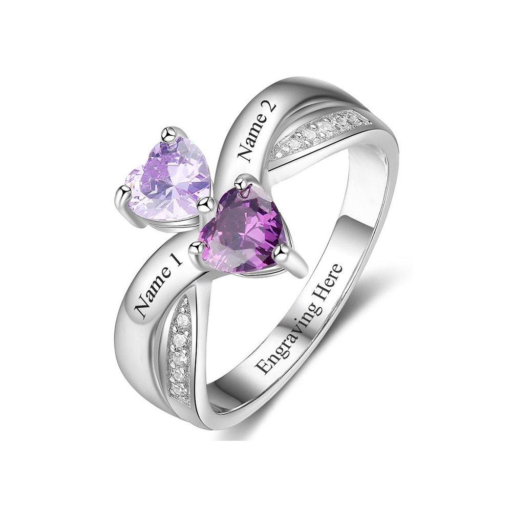 Sister Ring Personalized With 2 Names, Birthstones, & 1 Phrase | Best Friend Mother Daughter Engraved Jewelry P15