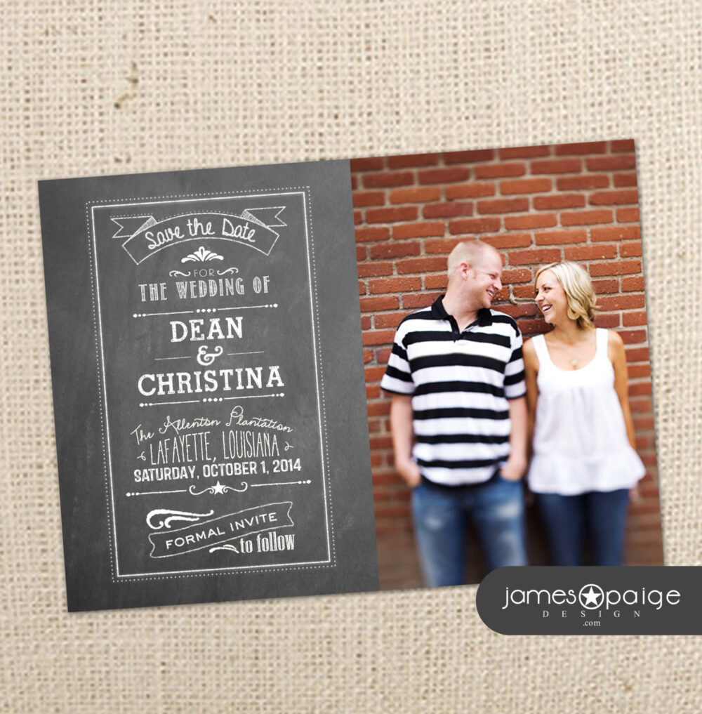 Chalkboard Save The Date With Photo - Digital Design 4x6 Or 5x7