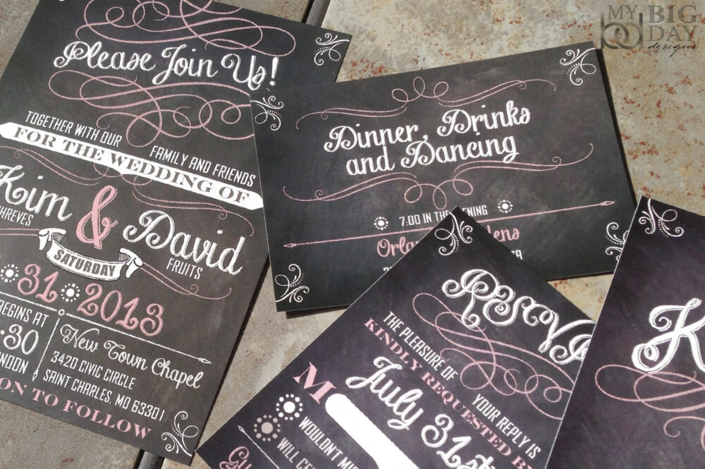 Whimsical Chalkboard Wedding Invitation, Dusty Rose Chalkboard Wedding, Chalkboard Flourish, Chalk Lettering, Printed Set, Black & Pink