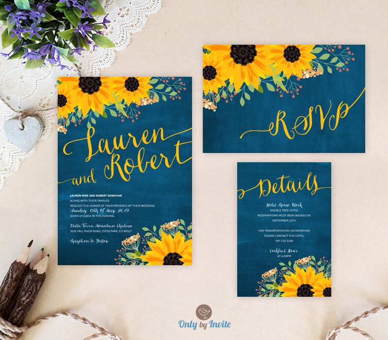 Printed | Blue Chalkboard Sunflower Wedding Set Invitation, Rsvp Postcard, Enclosure Card Rustic Country Invitations Printed