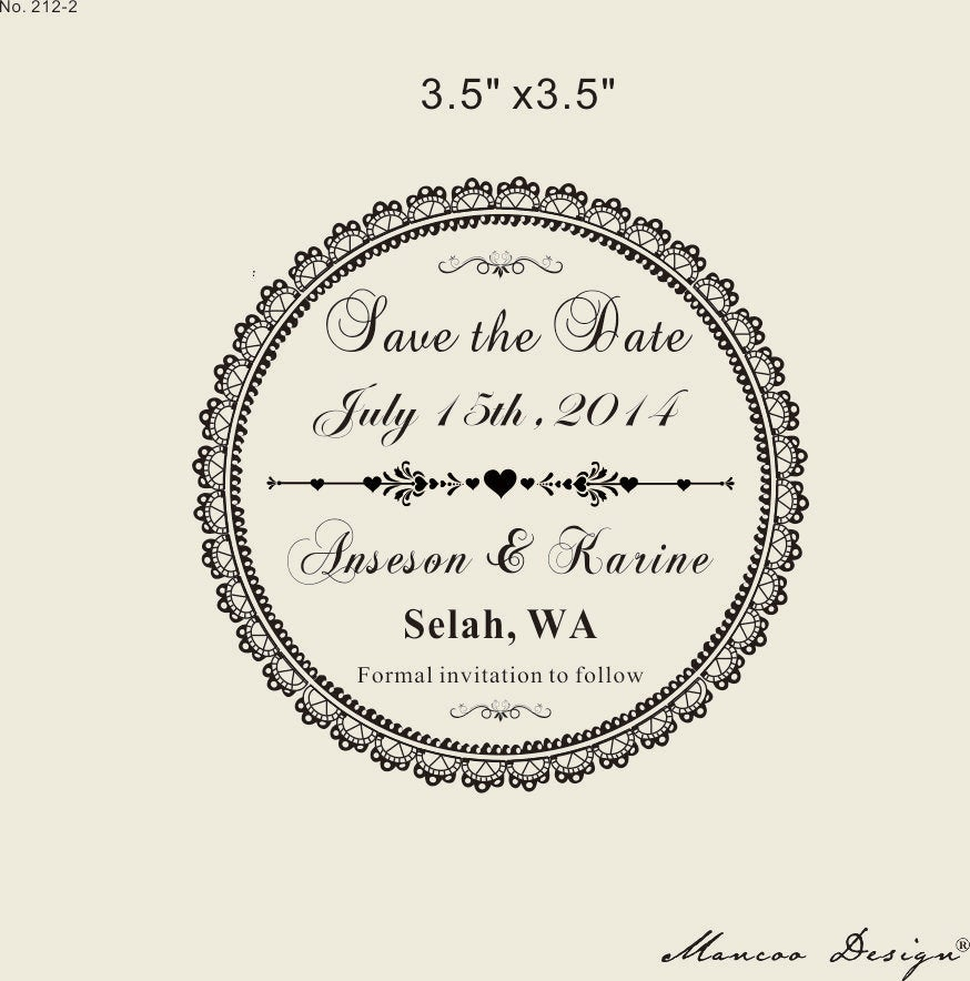 Save The Date Stamp Custom Rubber Stamp, -Wedding Lace Stamp-Diy Save Date Rubber Stamp With Damask Ornaments On Wood Block