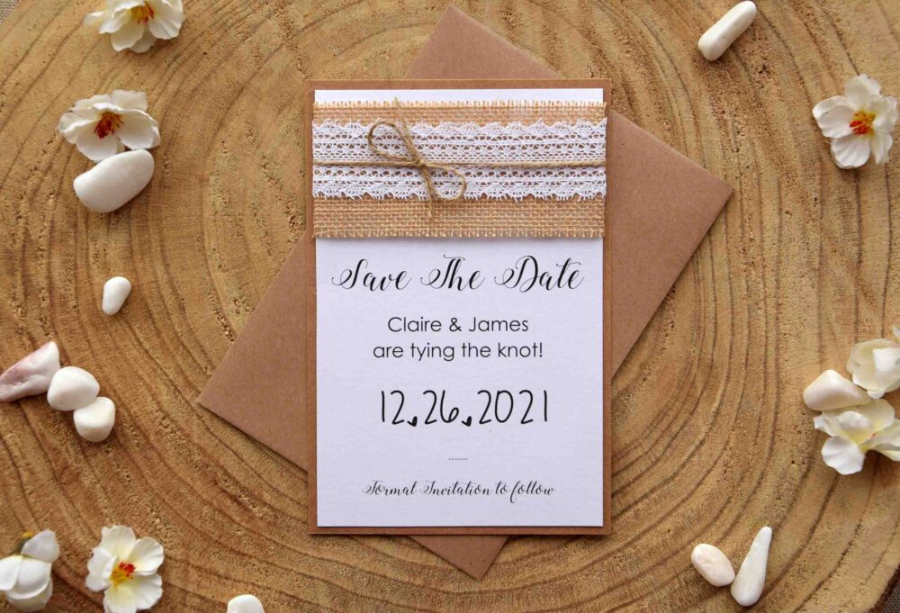 Rustic Save The Date Wedding Cards, Birthday Party, Burlap & Lace The Elegant Eco Friendly Dates