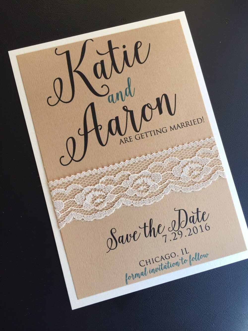 Lace Wedding Save The Date, Dates, Rustic Wedding, Shabby Chic Vintage, Invitation, Lace, Kraft Paper