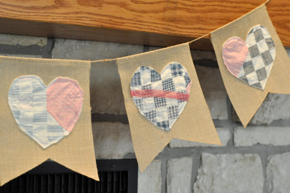 Heart Bunting- Cutter Quilt - Barn Wedding Decor -Tattered Shabby Banner Save The Date- Cake Table Rustic Banners