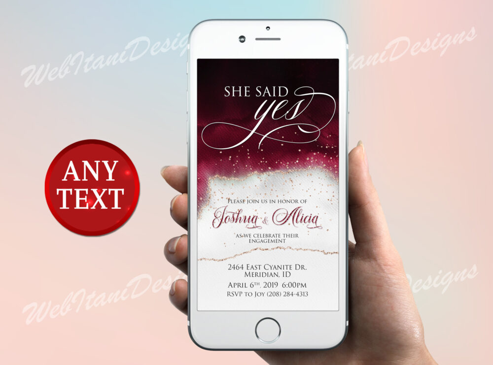 She Said Yes Electronic Engagement Party Invitation, Elegant Save The Date Invite, Said Yes Engagement Party Marsala Invitation Brg31Wi