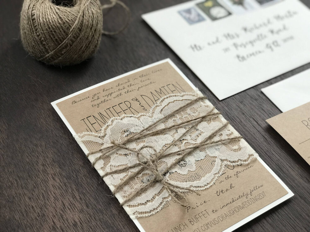 Rustic Elegant Wedding Set, Vintage Invitation, Lace Country Chic