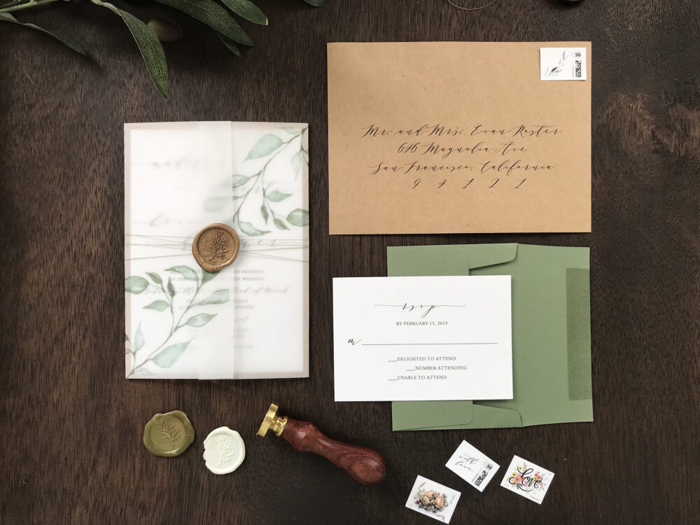 Vellum Wedding Invitation Set With Wax Seal & Printed Greenery, Rustic Elegant Invite, Modern Calligraphy Thread Wrap