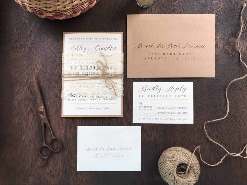 Rustic Elegant Wedding Invitation Set, Vintage Invitation, Lace Chic