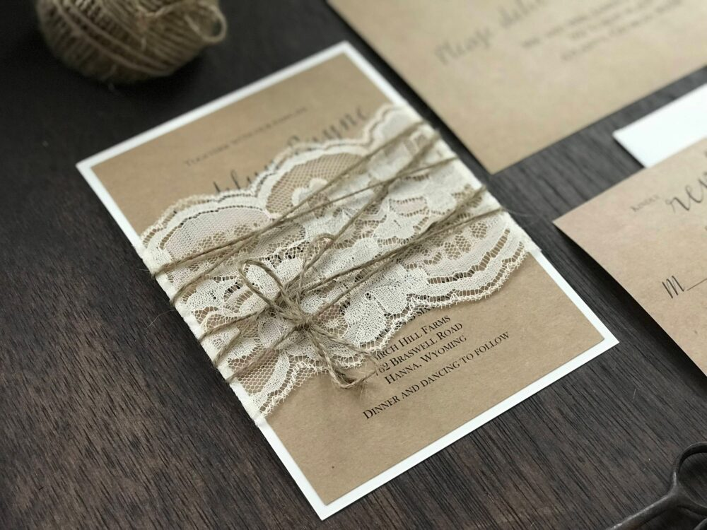 Rustic Elegant Wedding Set, Vintage Invitation, Chic Lace Shabby