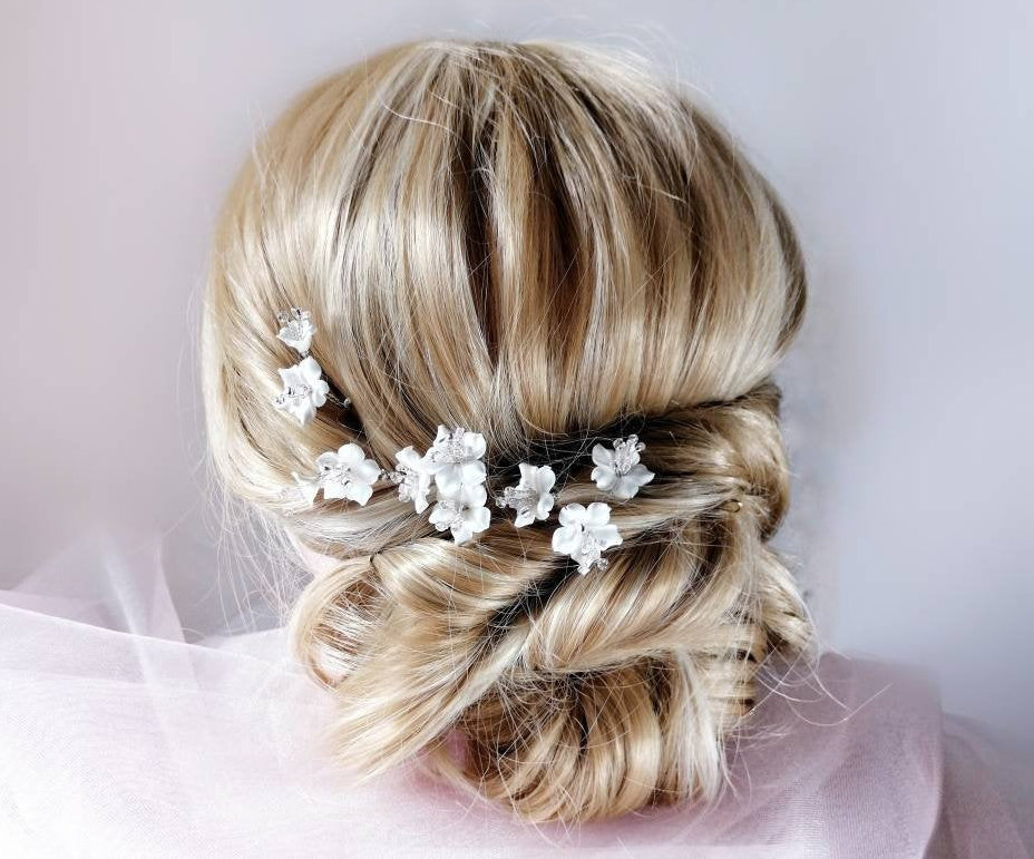 Floral Hair Pins For Wedding Bridal Piece With White Flower Hair Clip