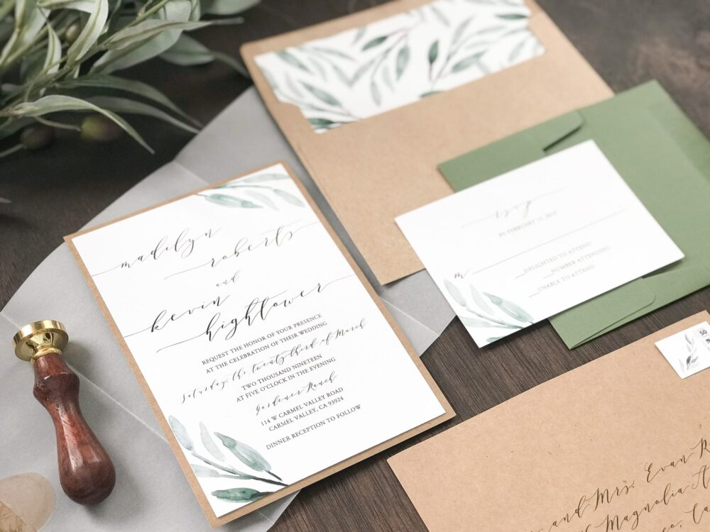 Watercolor Greenery Wedding Invitation Set With Vellum Wrap & Wax Seal, Rustic Elegant, Romantic Calligraphy, Transparent Invite, Translucent