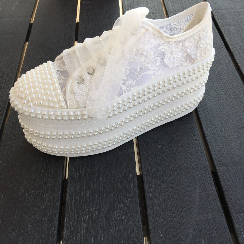 Wedding Heeled Shoes, Lace Bridal Women's Shoes, Platform Shoes, Bride Sports , , Pearl Shoes, Lace