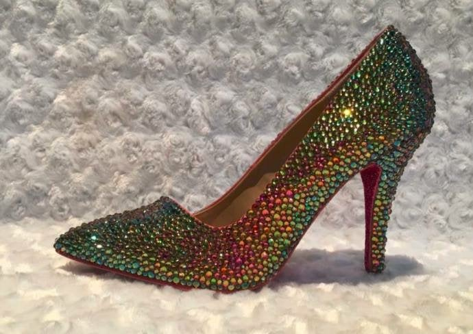 Custom Womens Rainbow Volcano Party Wedding Formal Swarovski Crystal Rhinestone High Heel Bling Shoes, Platform, Pointed Toe, Bridal