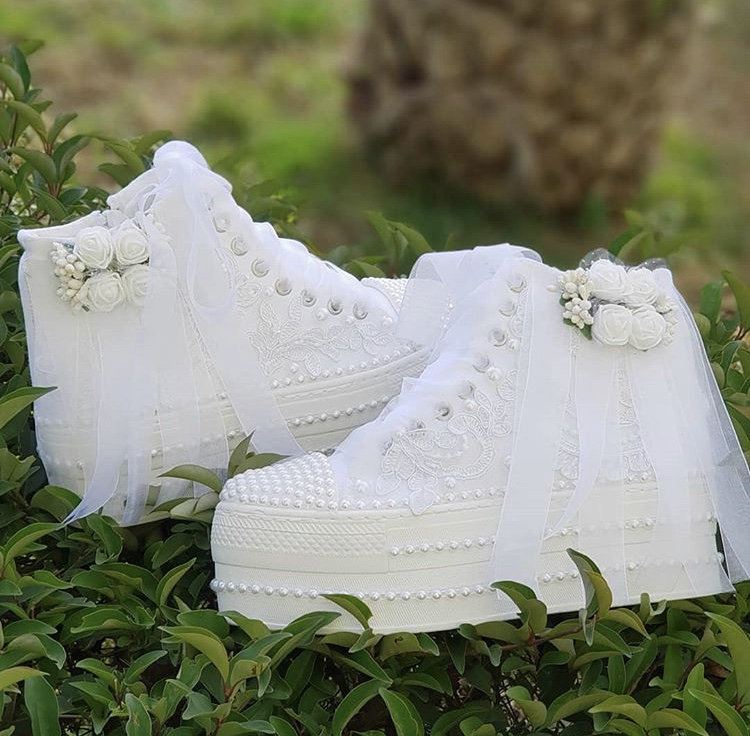 Wedding Sport Shoes, Bridal Sneakers, Bling Heeled Bride Women's Shoes, Platform Shoes