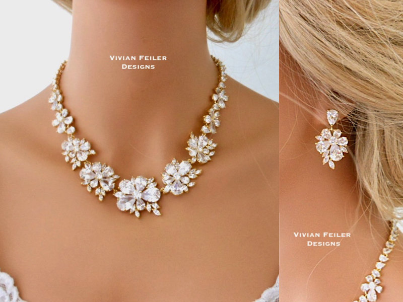 Gold Wedding Jewelry Set Bridal Necklace & Earrings Jewellery Cubic Zirconia Mother Of The Bride/Groom