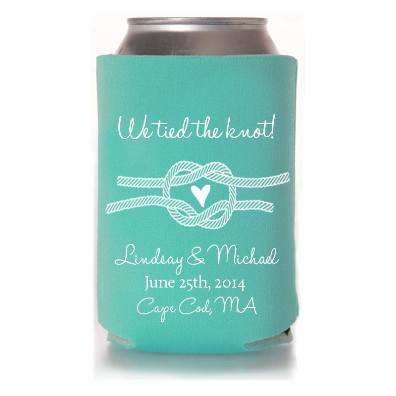 Fall Wedding Favors - We Tied The Knot Personalized Can Coolers, Rustic Reception For Guests, Beer Insulators, Stubby Holders