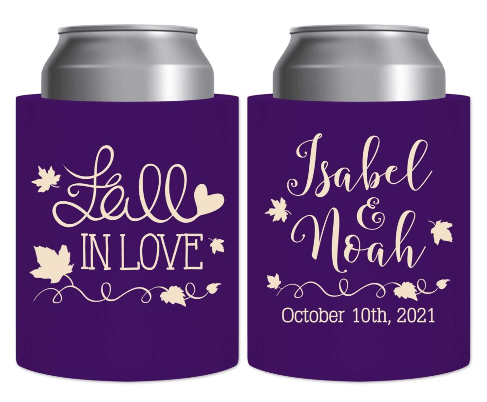 Fall Wedding Favors Autumn Decor Beer Can Coolers Hard Foam Holders Rustic in Love 3B