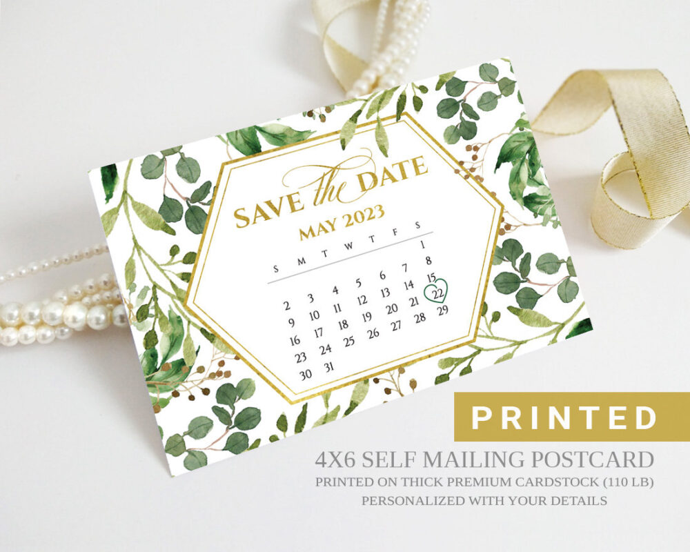Save The Date Calendar Postcard | Gold, Geometric, Eucalyptus Leaves, Botanical Wedding Save Date Cards Printed Greenery Card