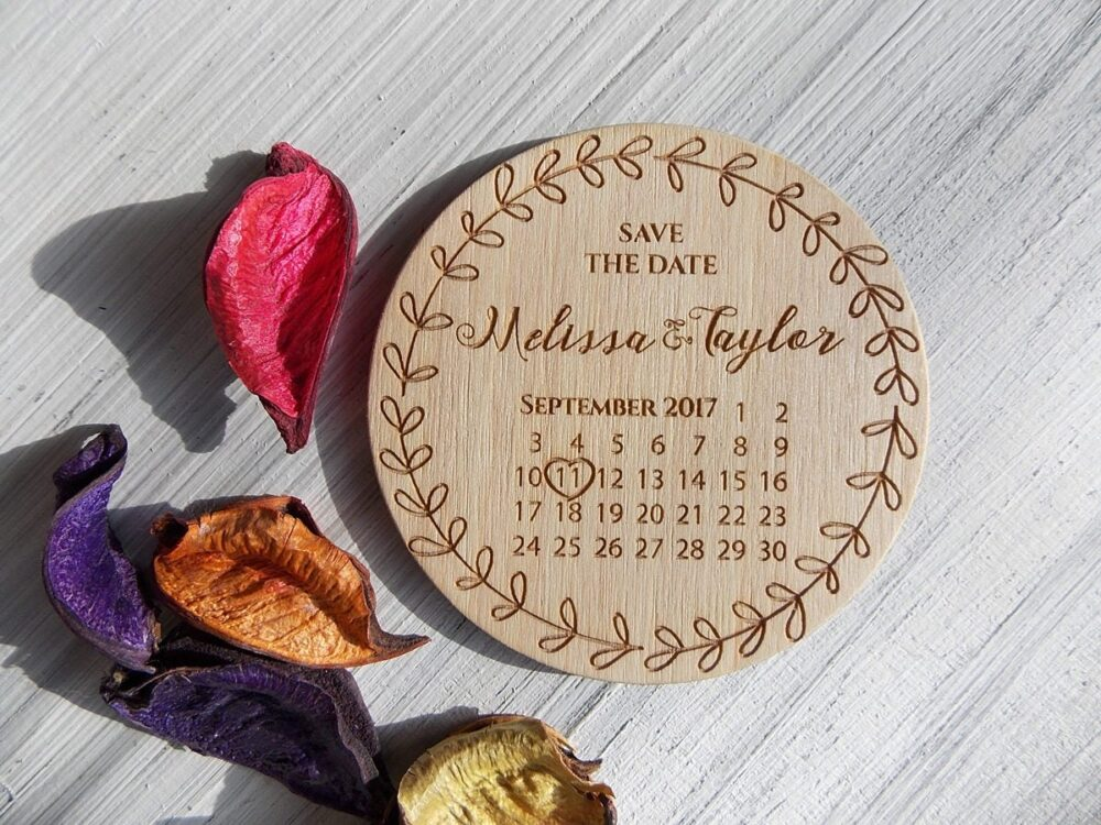 Custom Wedding Invite Save The Date Calendar Magnet Wood Personalized