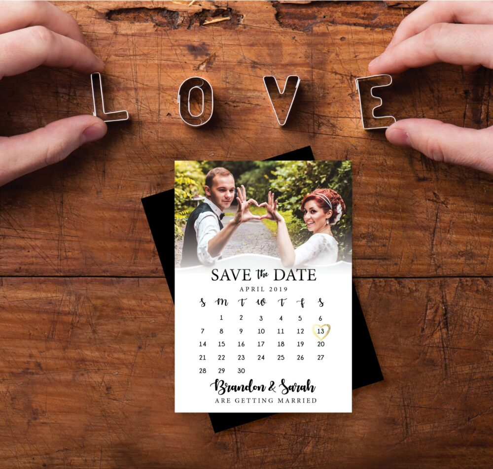 Save The Date Calendar Magnet, Personalized, Faux Gold Heart, Calendar Save Date, Wedding, Photo Magnets, Date + Envelopes