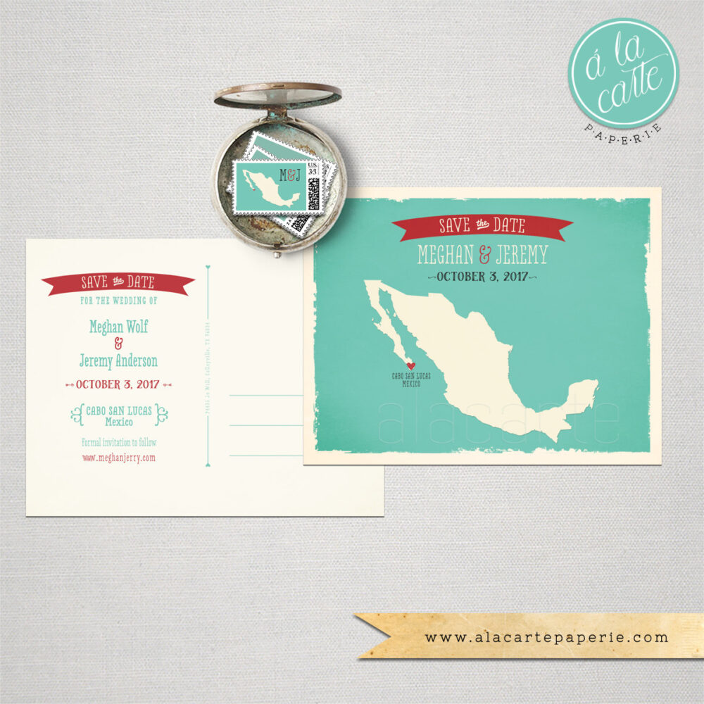 Destination Wedding Invitation Mexico Los Cabos Cabo San Lucas Save The Date Save Date Postcard Mexican Map Aqua Teal Deposit Payment