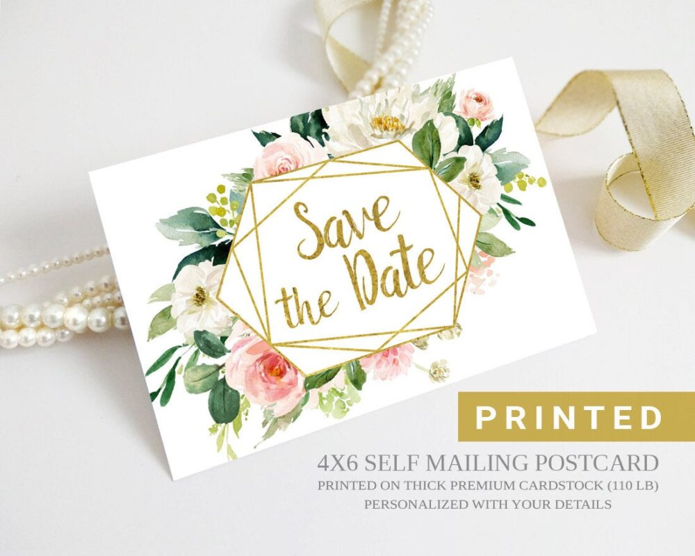 Printed Save The Date Postcards Personalized With Your Info | Floral Save Date Postcard
