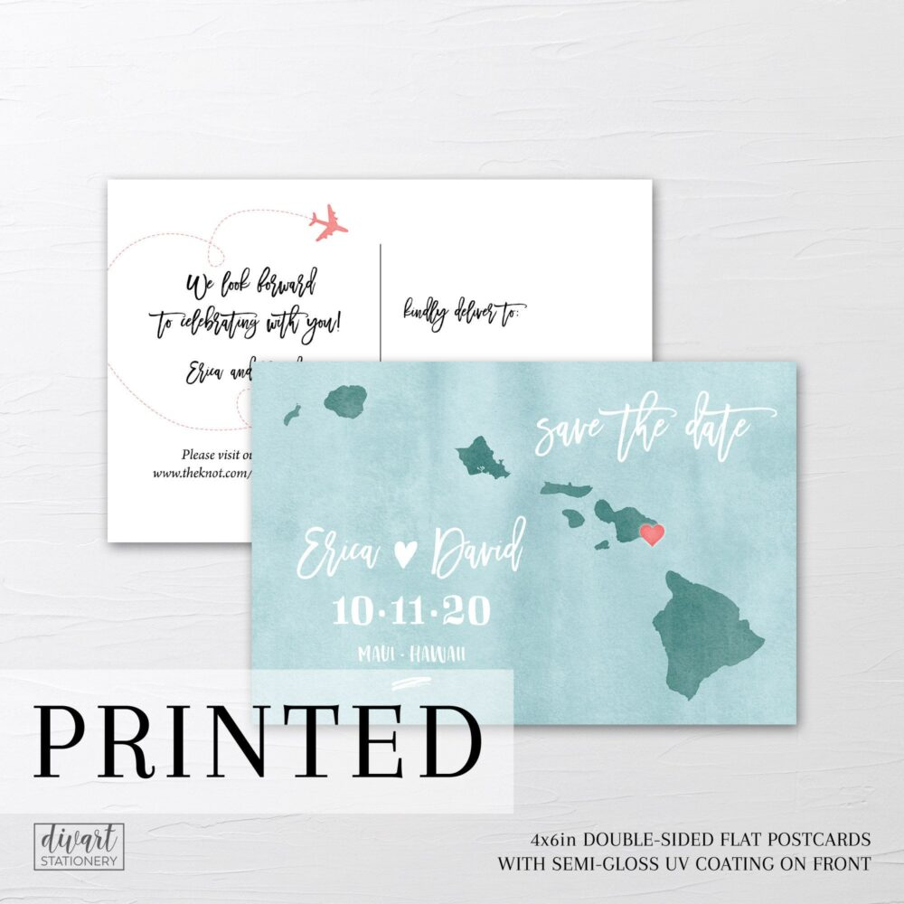 Save The Date Postcard - Printable Or Printed Destination Wedding, Save Date With A Custom Map, Watercolor Map Postcard Hawaii