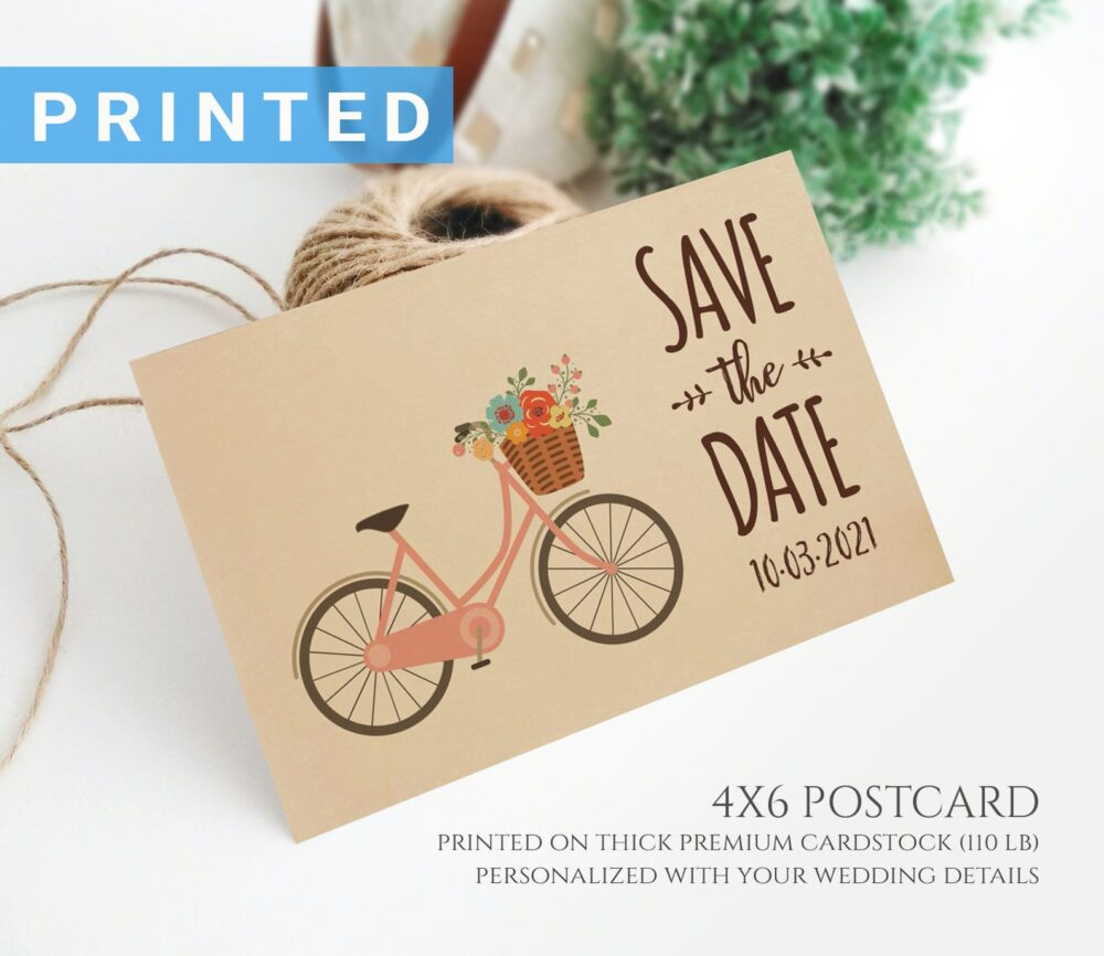 Rustic Bicycle Save The Date Postcard Printed On Kraft Cardstock | Simple Country Wedding Save Date Cards