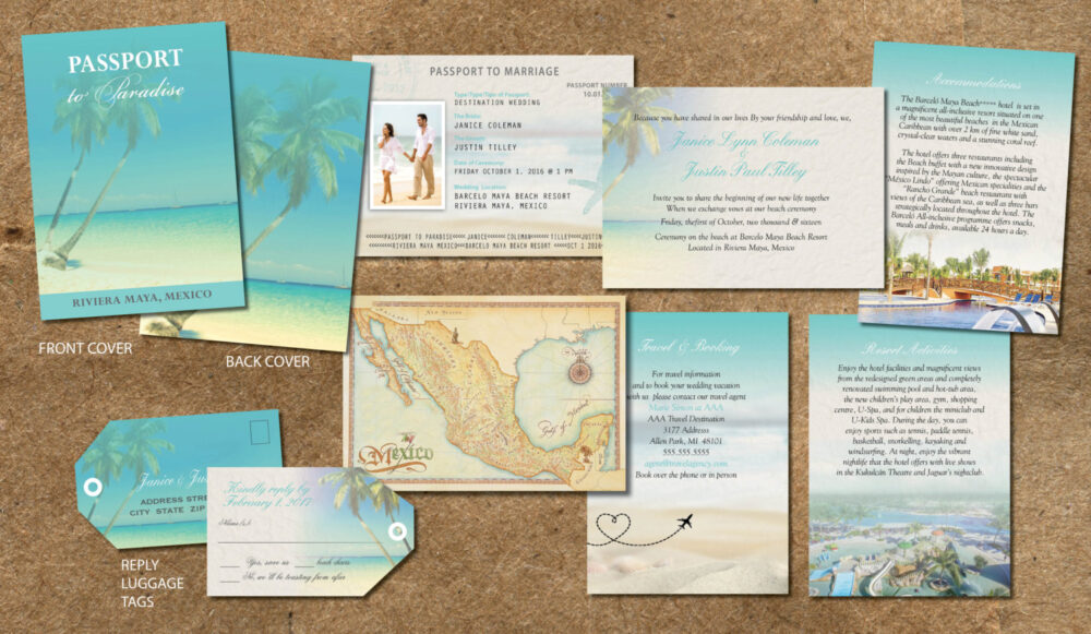 Turquoise Wedding Passport Invitations, Booklet With 8 Pages Of Information, Schedule, Booking Details