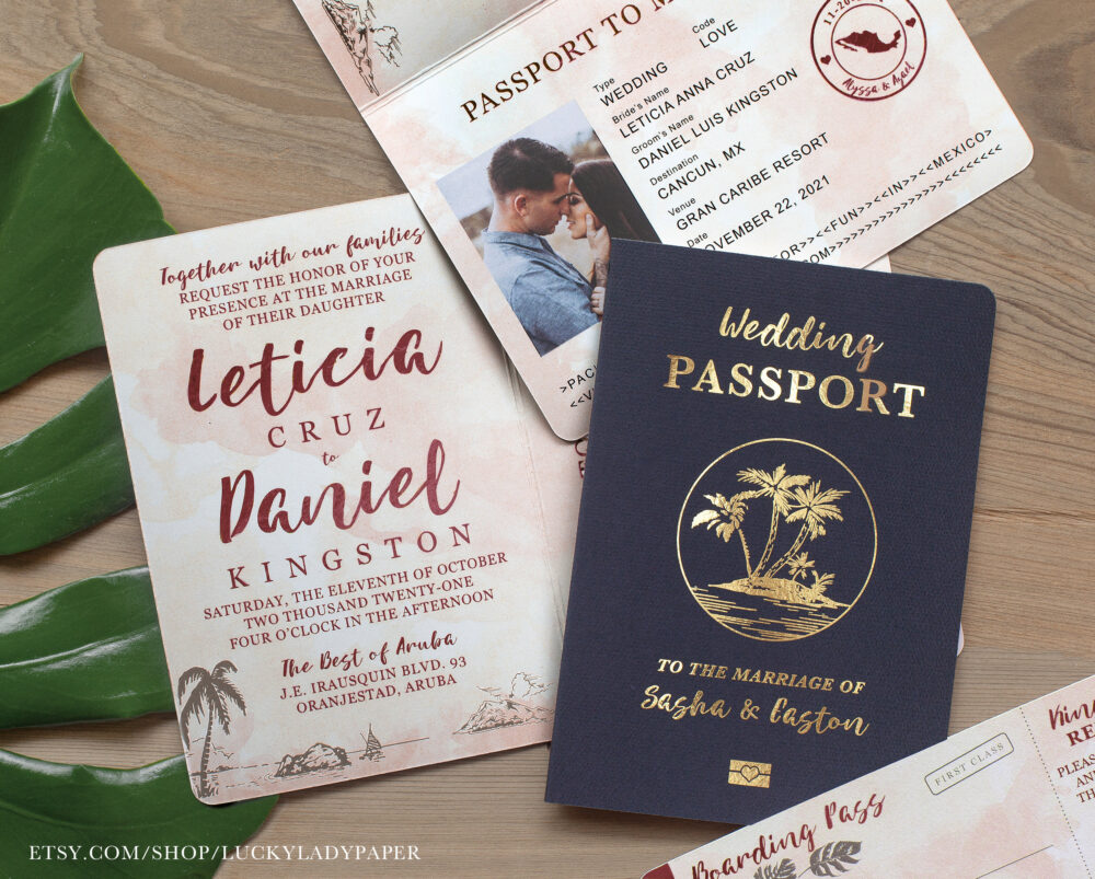 Destination Wedding Passport Invitation Set Burgundy & Blush Watercolor Gold Foil Tropical Design - See Item Details To Order