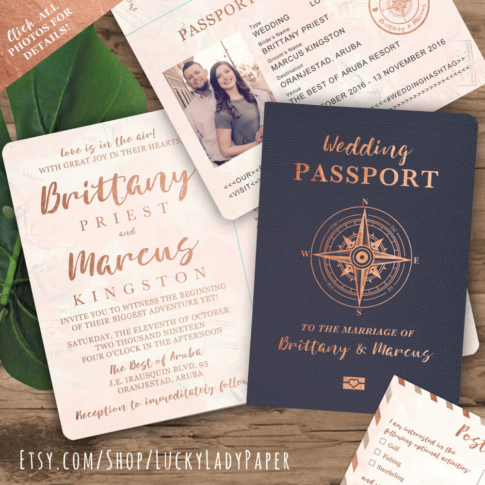 Destination Wedding Passport Invitation Set in Rose Gold & Blush Watercolor Compass Design By Luckyladypaper - See Item Details To Order