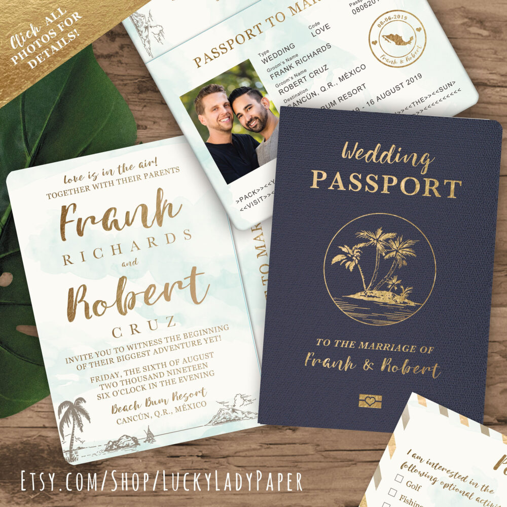 Destination Wedding Passport Invitation Set in Gold & Aqua Watercolor Tropical Design By Luckyladypaper - See Item Details To Order