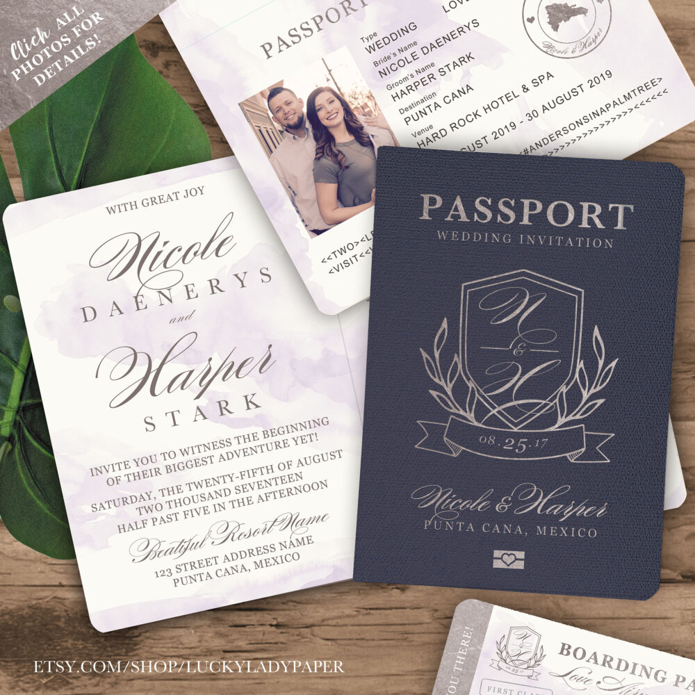Destination Wedding Passport Invitation Monogram Crest Design in Silver With Lavender Watercolor - See Item Details To Order
