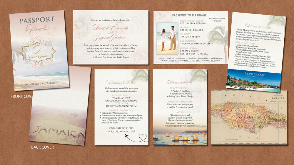 Special Wedding Passport Invitation Set, Rose Gold With Framed Family Crest Names & Date