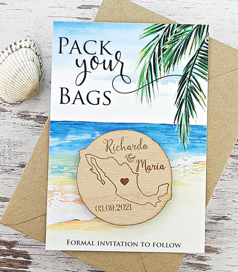 Save The Date Magnet Mexico, Destination Wedding, Beach Date, Tropical, Rustic Wedding Wood Magnet, Cancun, Pack Your Bags, Custom