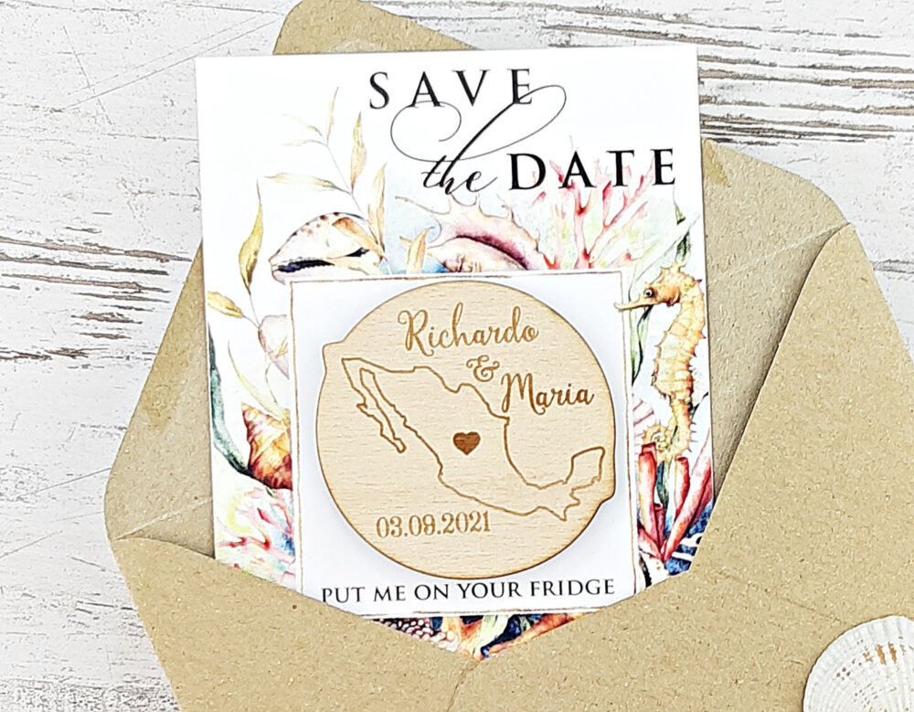 Mexico Save-The-Date Magnet, Destination Wedding, Beach Save The Date, Tropical, Rustic Wedding Wood Cancun, Pack Your Bags, Custom