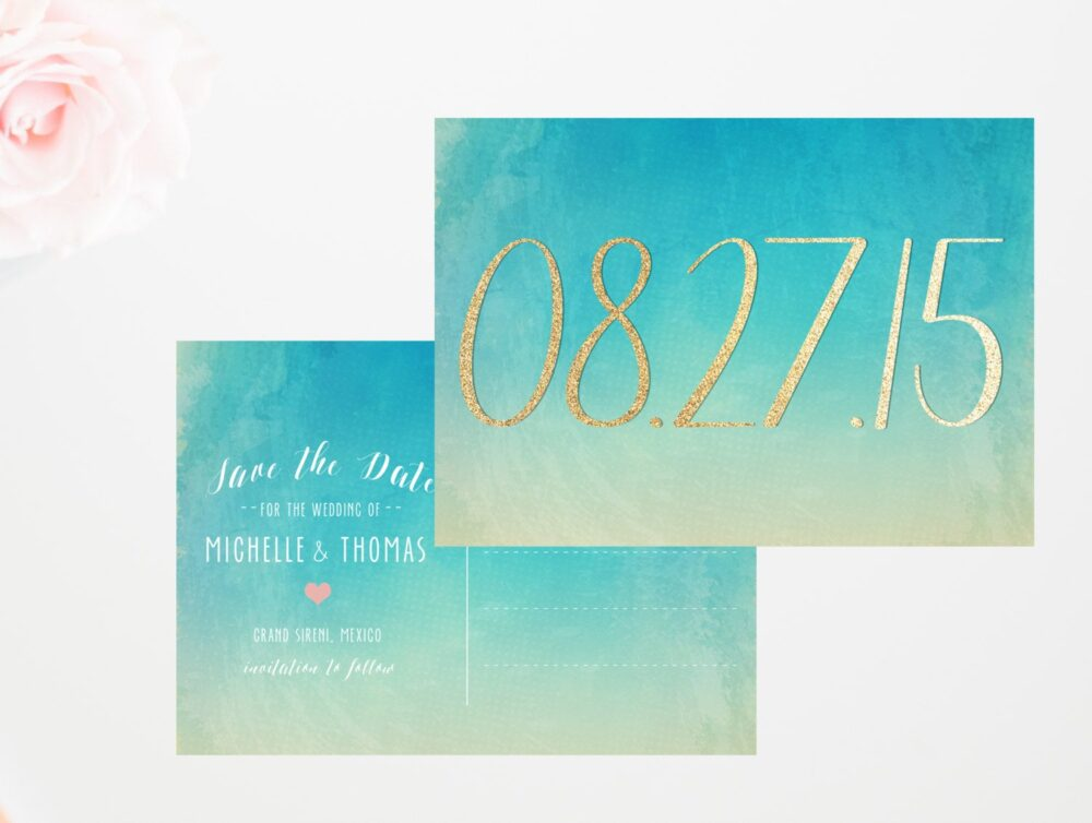 Destination Wedding Save The Date Postcard, Wedding, Beach Date