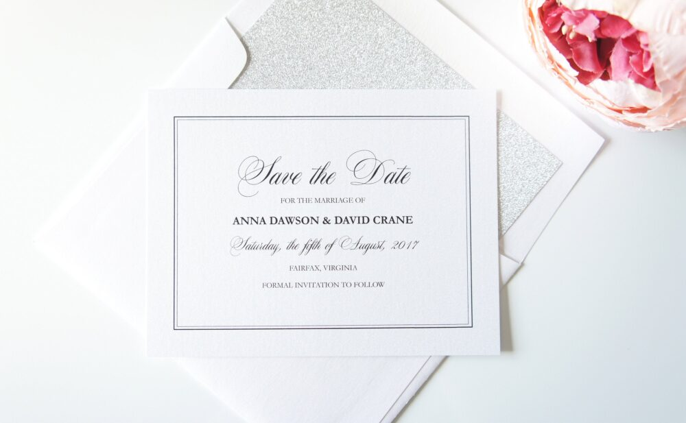 Elegant Save The Date Card, Wedding - Deposit