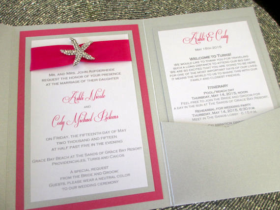 Destination Wedding Invitation, Beach Invite, Tropical Silver & Fuchsia Rhinestone Starfish, Pocket Invite