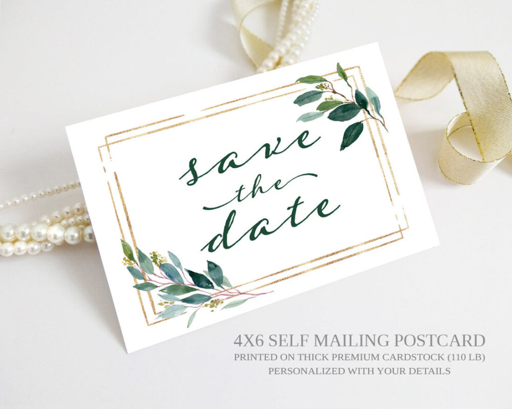 Elegant Save The Date Postcards | Gold & Green Eucalyptus Leaves, Botanical Wedding Save Dates Printed Greenery Card