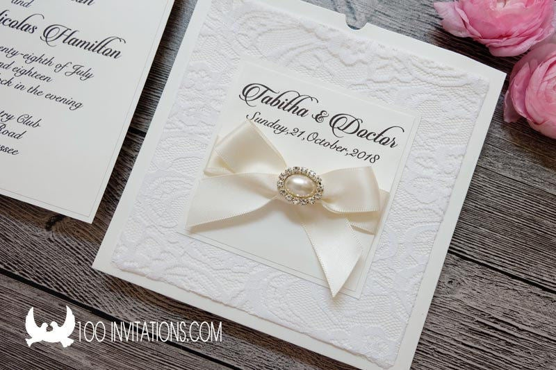 Lace Wedding Invitations, Lace Invites, Lace Wallet Pocket Invitation With Ribbon Bow & Rhinestone Button