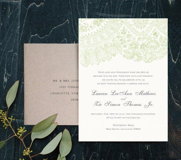 Irish Country Wedding Invites, Green Lace Invitations, Farmhouse Barn Vintage Printed W Envelopes