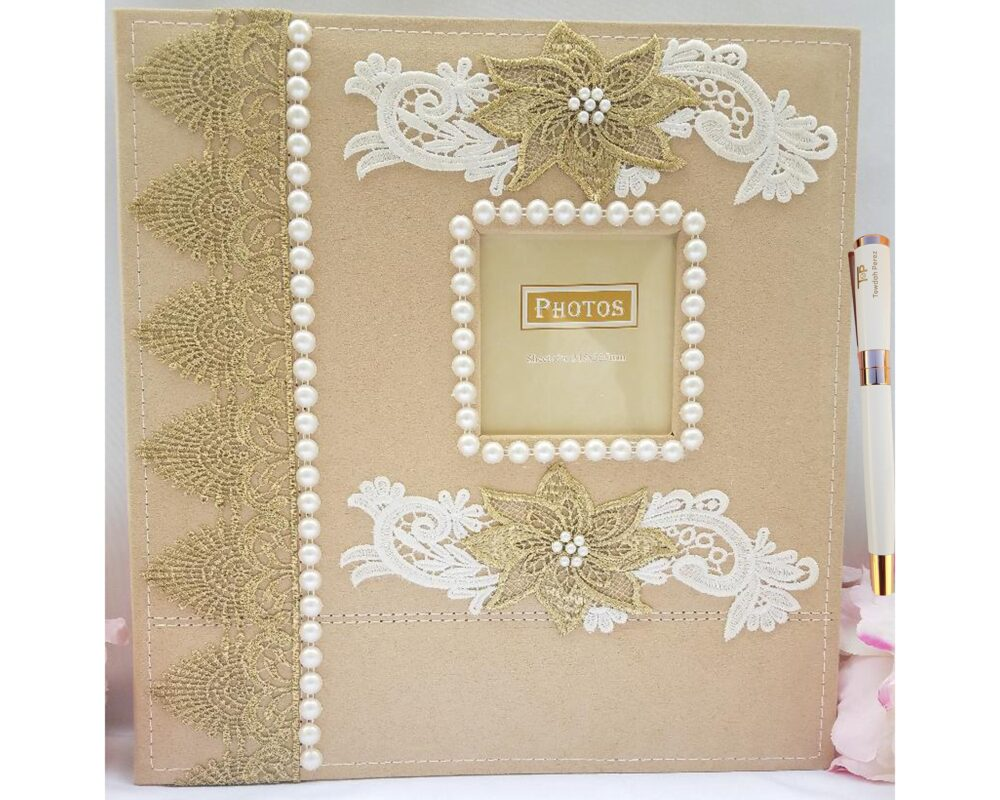 Towdah Perez Pearl Gold Lace & Flower Higher Volume Capacity Large Self Stick Wedding Photo Album. 3x5 4x6, 5x7, 8x10 Photos. Plus White Pen