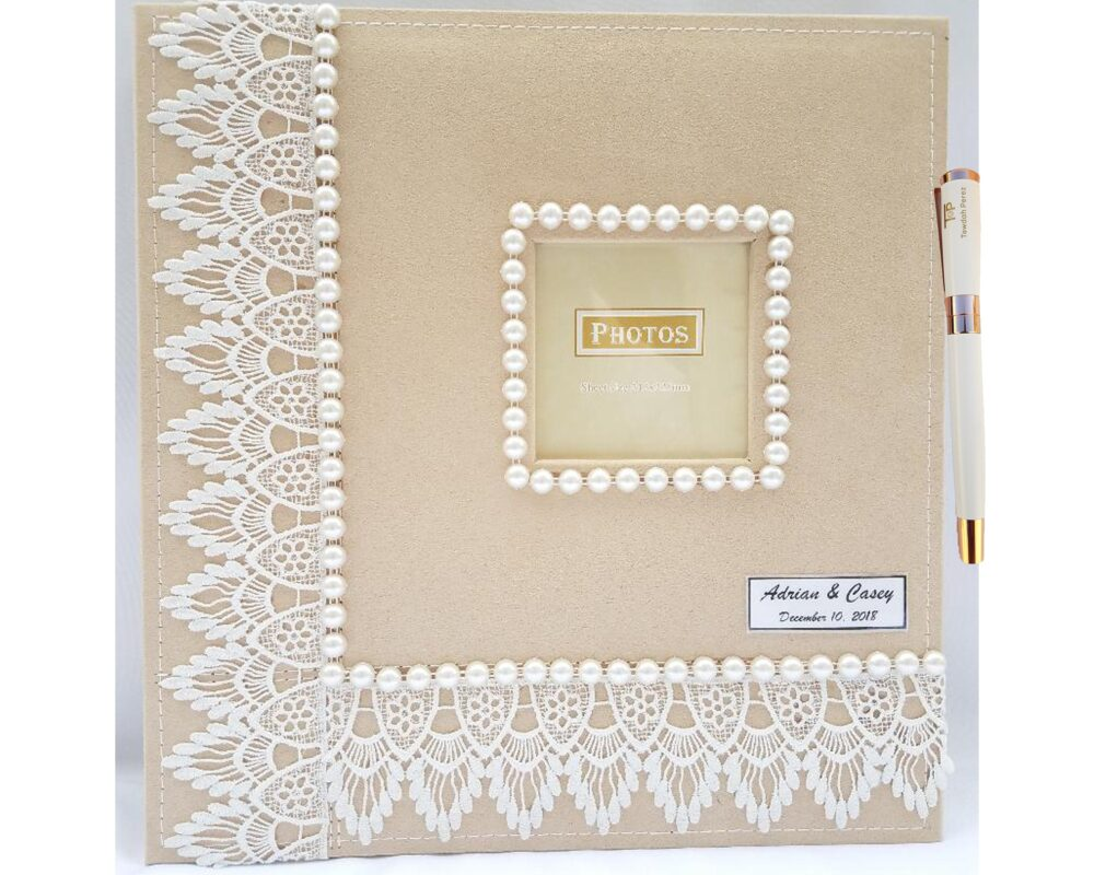 Towdah Perez Pearls & White Lace Higher Volume Capacity Large Self Stick Wedding Photo Album. 4x6, 5x7, 8x10, 8x12 Photos + White/Gold Pen
