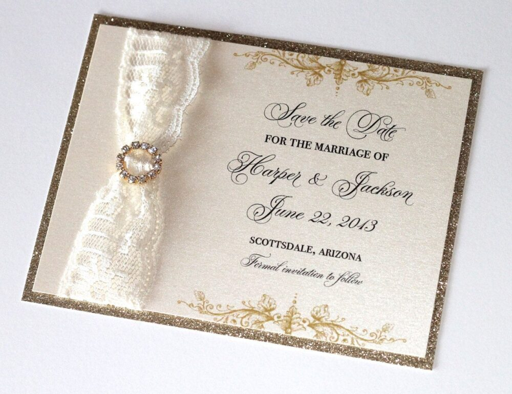 Glitter Wedding Save The Date - Vintage Elegant Invitation Lace Ivory Gold Harpersample